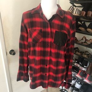Plaid and Pleather Top